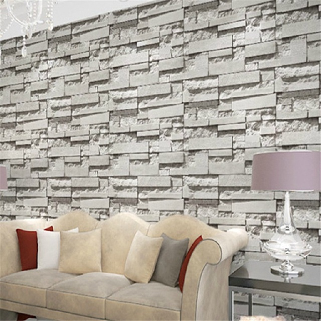 Korean imitation brick pattern wallpaper 3d stereoscopic - Brique decorative blanche ...