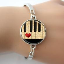 TAFREE Brand Music notes Piano Bracelet Black and White Keyboard Glass Dome Bangle jewelry gift for women musician teacher D481