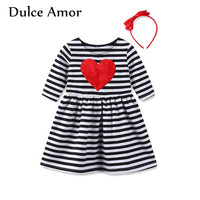Dulce Amor Girls Dress Baby Girl Clothes Spring Kids Cotton Long Sleeve Love Heart Patch Striped