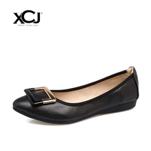 XCJ Women Flats Spring Autumn Brand Women Shoes Women Sneakers Pointed Toe Metal Decoration Female Casual Shoes Plus Big Size(China)