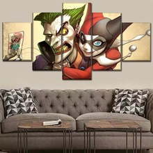 Canvas Poster Home Decor HD Prints 5 Piece DC Comics Harley Quinn And Joker Painting For Bedroom Wall Art Pictures Framework