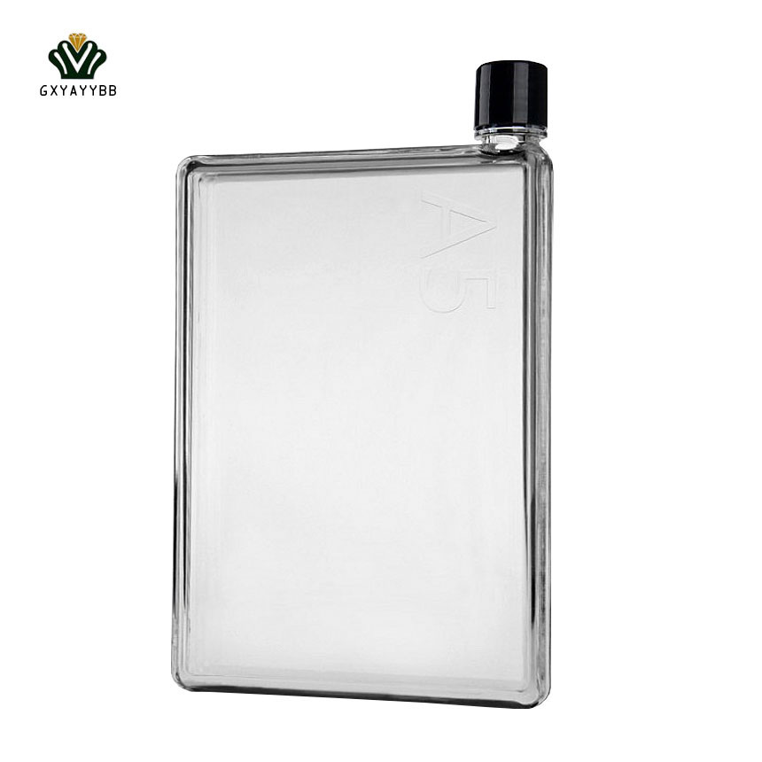 A5 Notebook Portable Paper Square Flat My Water Bottle Fashion Clear Transparent Outdoor for Sport Running Camping Water Bottle