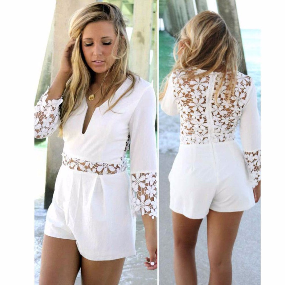 Deep V-neck Sexy Women Playsuits Solid White Fashion Hollow Out Bodysuits 2018 New Arrival Summer Plus Size Jumpsuits