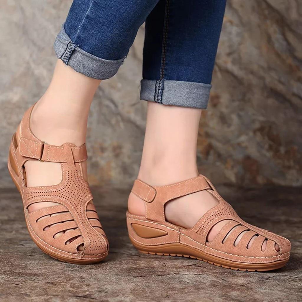 HTB1OJ meBGw3KVjSZFwq6zQ2FXaq Women's Sandals Summer Ladies Girls Comfortable Ankle Hollow Round Toe Sandals Female Soft Beach Sole Shoes Plus Size C40#