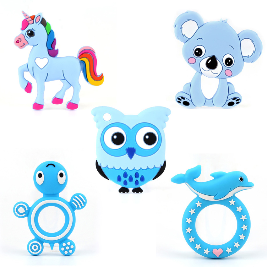 TYRY.HU 2pc Silicone Beads Baby Teether Food Grade Silicone Teether Ring Baby Teething Accessory Silicone Teething Toys
