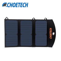 Free Shipping CHOETECH High Efficiency 19W 2 Ports USB Solar Charger Portable Solar Charger Waterproof Solar