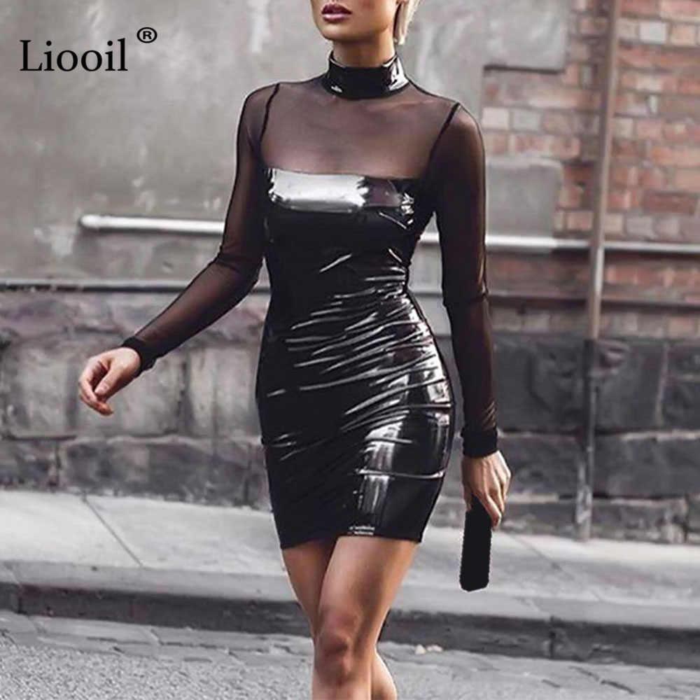 0dc7108831b Liooil с длинными рукавами объединённый сетки вечерние платье черный из  искусственной кожи лоскутное водолазка перспектива обтягивающие