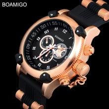 large dial 2017 BOAMIGO men male fashion casual sports military analog quartz rubber strap rose gold watches relogio masculino