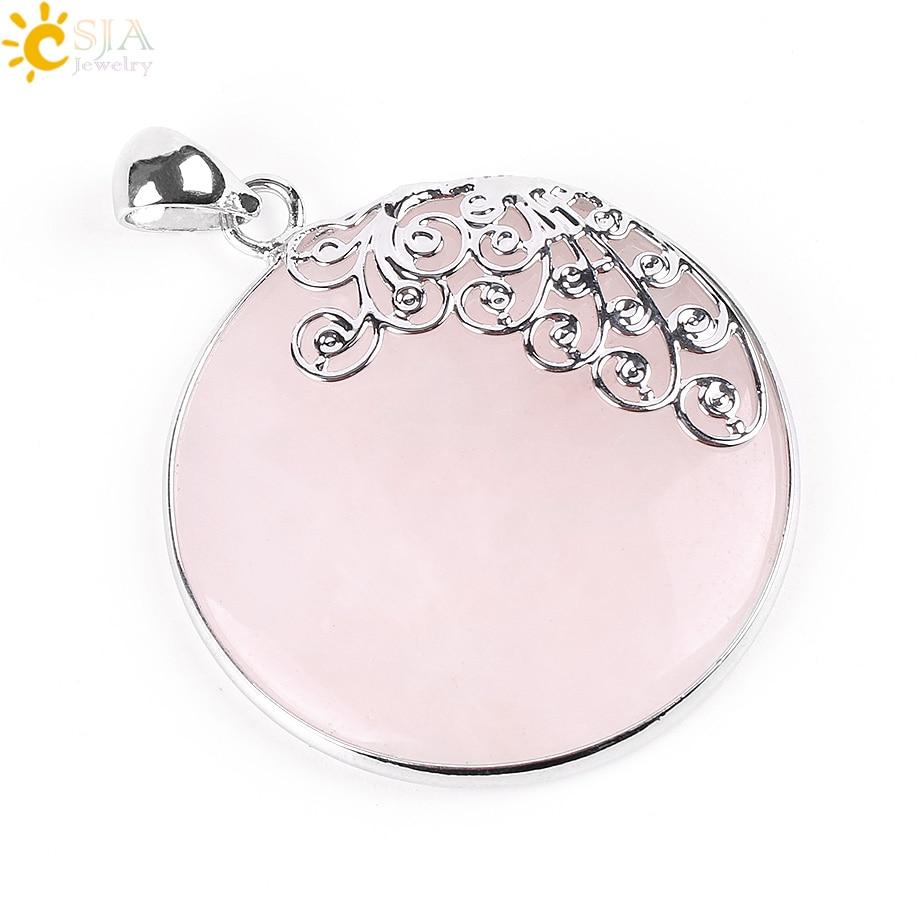 CSJA Reiki Natural Big Round Gem Stone Bead Pink Quartz Necklaces Pendants Flower Charm Women Girl Crystal Bohemian Jewelry E797
