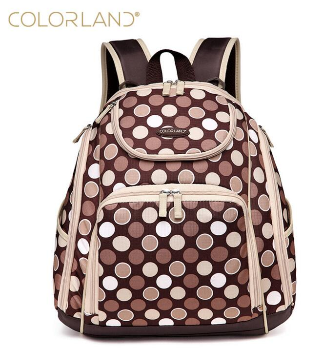 COLORLAND brand diaper wet bag backpack turtle shell large capacity travel bag women bag storage bag fashion printing backpack in Diaper Bags from Mother Kids