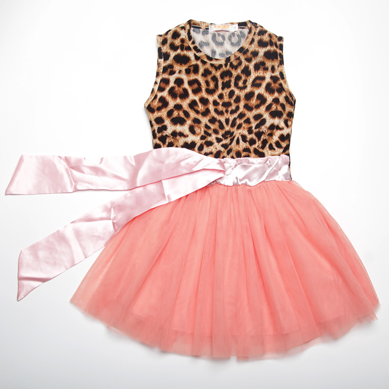 Cute fashion Girls dresses summer 2017 sleeveless Leopard cotton pink bow kids dresses for girls 2-7 age princess kids clothes 2016 summer europe fashionable girls cute girls short bow wave shorts cotton suit birthday gift for girls