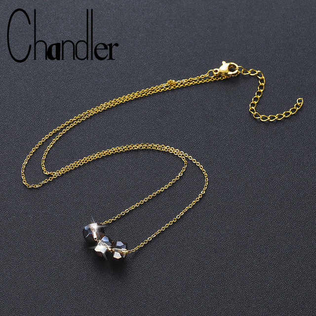 Chandler Champagne Crystal Bead Necklaces Stainless Steel Chain For Women Jewellery Dress Accessories Sweater Necklace All Match