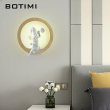 BOTIMI Nordic LED Wall Lamp Modern Sconce Luminaira Wooden Bedside Lights Angel Mounted Luminaria Bird Deco Lamps