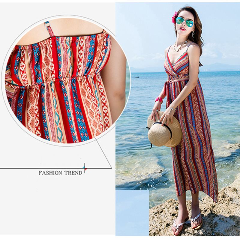 Women Chiffon Beach Dress Bohenmian Style Print Sleeveless holiday Elastic Waist V neck Casual Soft Sundress Vocation long Dress in Dresses from Women 39 s Clothing