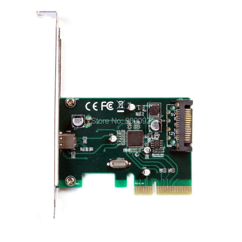 PCI Express X4 TO One USB 3.1 Type C Converter Card Adapter +15 pin SATA Power Connector