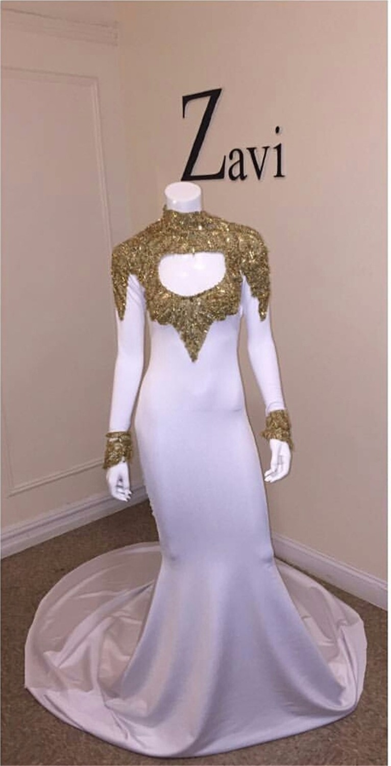 2017 new floor length gold and white prom dress gorgeous