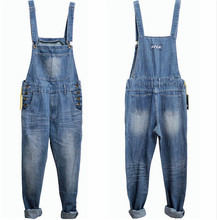 Men's Denim Bib Pants Male Loose Plus Size S-4XL Casual Jeans Straight One Piece Long Trousers Suspenders Overalls Jumpsuit