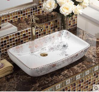 Large Size Square European Stage Basin Sink Ceramic Lavabo Face Art Basin Sink Basin That Wash A Face