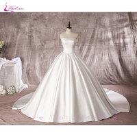 Waulizane Simple Style Lustrous Satin A Line Vestido De Noiva Wedding Dresses Off The Shoulder Lace Up Elegant Strapless Bridal