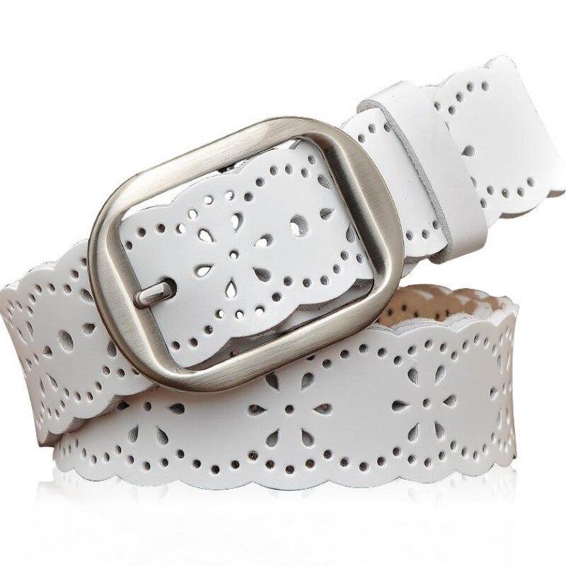 Women's leather   belt   white hollow plum pattern   belt   ladies casual pin buckle fashion leather   belt   wild   belt