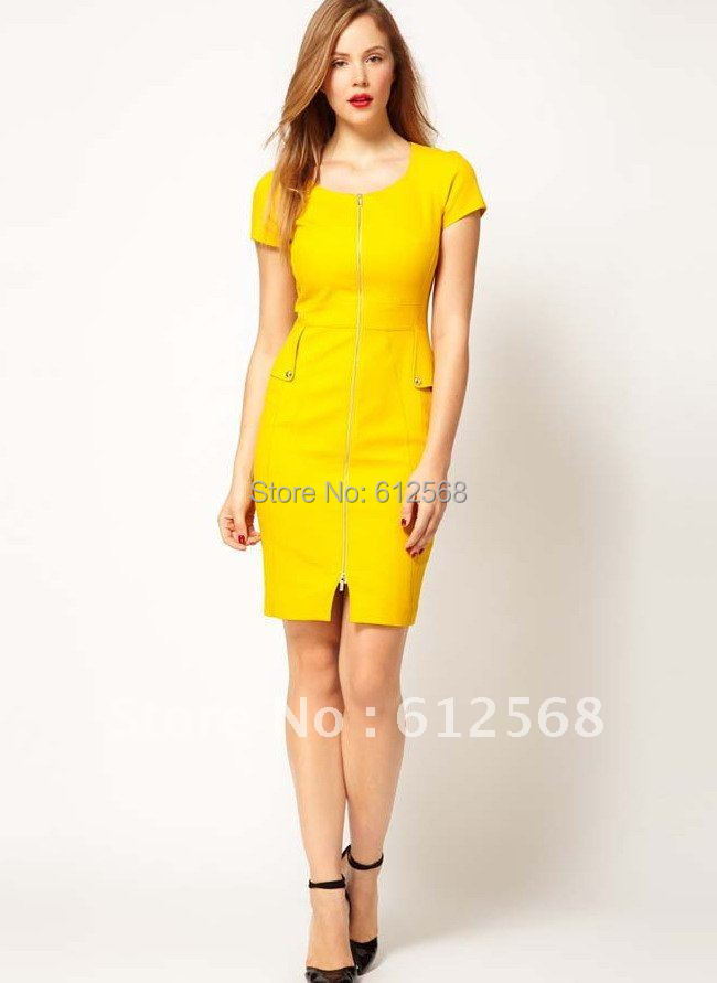 Formal Work Tailored Dresses Yellow Short Sleeves Office Lady