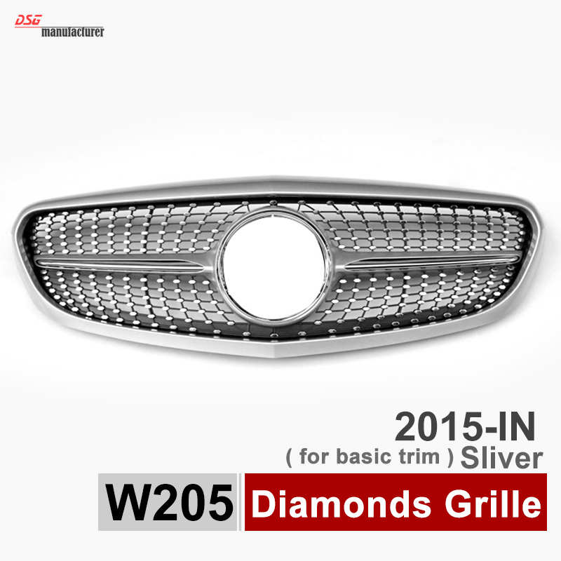 Buy mercedes w205 basic diamonds grille abs front bumper grill mesh fits - Grille indiciaire 2015 categorie c ...