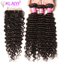 Klaiyi Hair Deep Wave Bundles With Closure 4pcs Indian Hair Extension Deep Wave Closure 100 Remy Human Hair Bundles With Closure