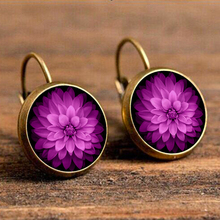 Vintage Resin Mandala Flower Boucles D'oreilles Pour Les Femmes Purple Pendientes Grandes Indian Jewelry Brincos 2018 Wholesale vintage kaleidoscope flower drop earring for women blue purple indian mandala pattern round eardrop wholesale brincos 2018