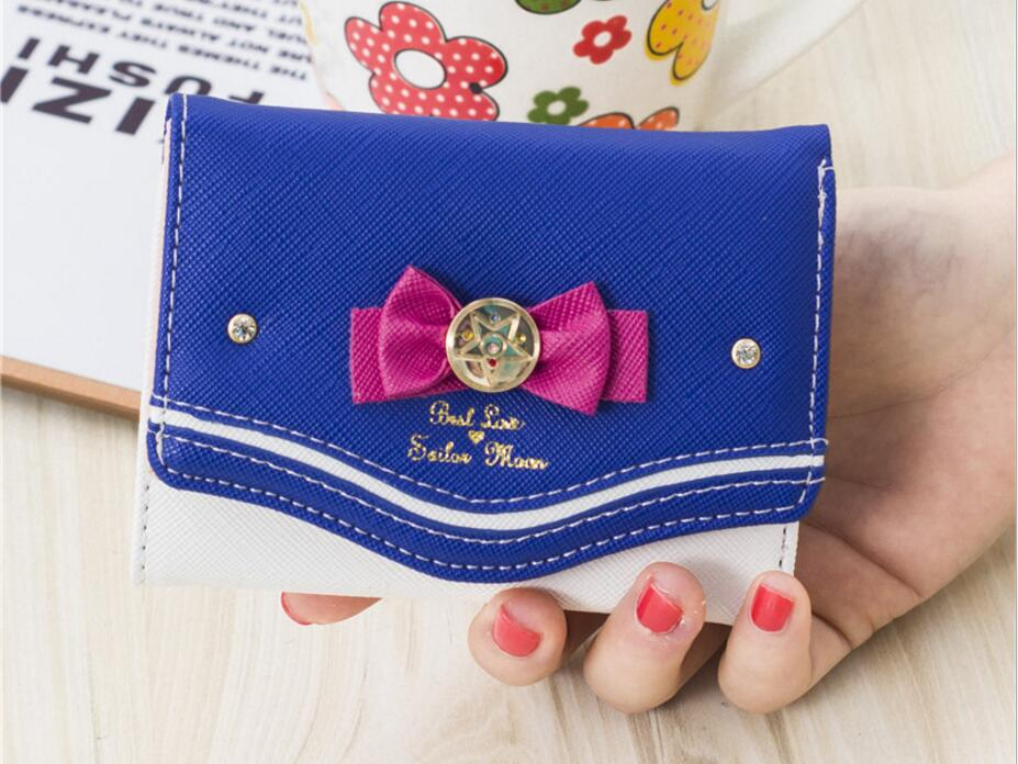 1 piece Sailor Moon Wallet Women Lady Short Wallets Female Candy Color Bow PU Leather for Card Purse Clutch Bag New hot sale women lady long wallets purse female candy color bow pu leather carteira feminina for coin card clutch bag