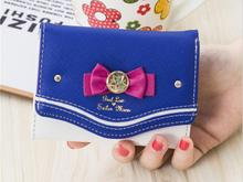 1 piece Sailor Moon Wallet Women Lady Short Wallets Female Candy Color Bow PU Leather for Card Purse Clutch Bag New