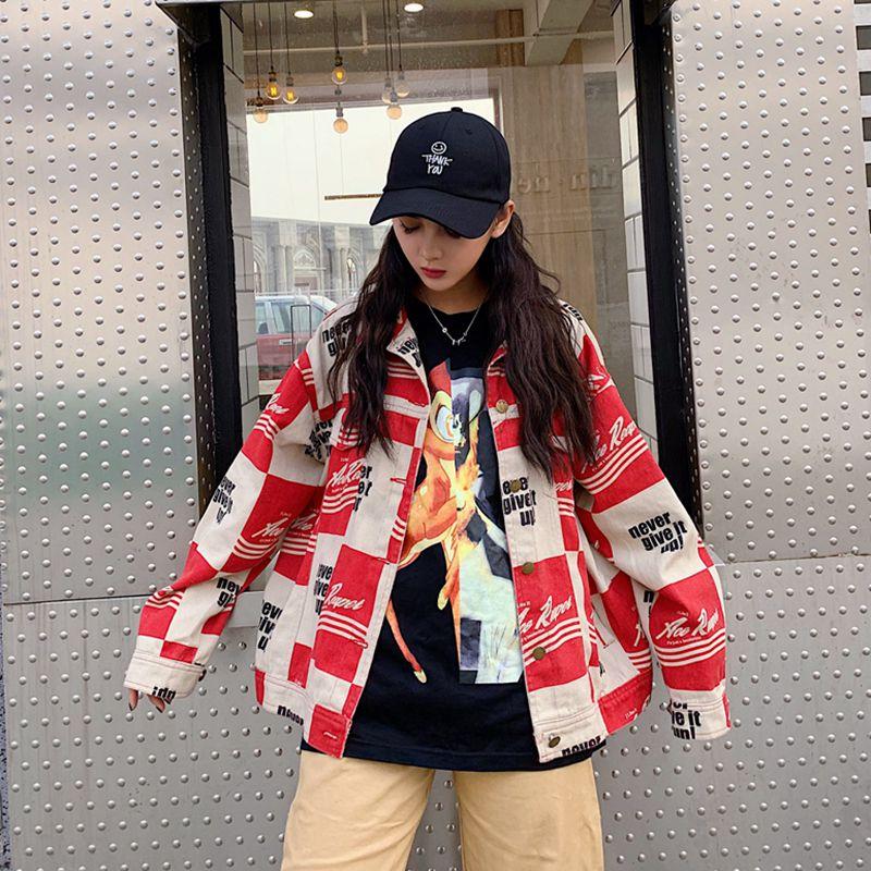 Fashions Streetwear Cheersolo Vestes Grande rouge Harajuku Jean Manteaux Et Femmes Noir Veste Denim Taille Surdimensionné 7w5Zpqwr