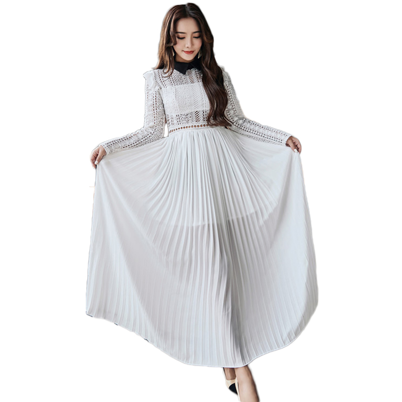 Sexy Female Sexy See Through Long Dress 2018 runway womens fashion White Lace  Hollow Out Split 7753898f127b