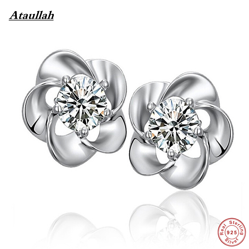 Ataullah Natural Crystal Amethyst Stone Plum Flower 925 Sterling Silver Stud Earrings for Women Fine Silver Jewelry EWS205-Fine