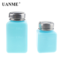 UANME 1 Piece 120ML/180ML Empty Liquid Alcohol Press Bottle Glue Residue Remover Clean Tool Portable Dispenser Pump Bottle 180ml alcohol and liquid container bottle blue