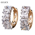 GULICX Fashion Exaggerated Brand Earing  Gold Platinum Plated White Crystal Hoop Earring Engagement Jewelry For Women E305