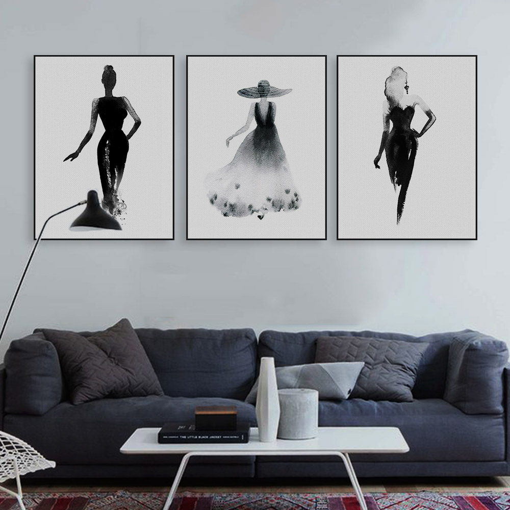 Modern Nordic Black White Fashion Model Large Canvas Art ...