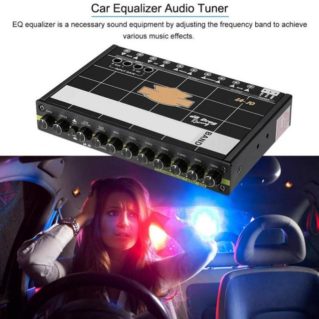 Car Audio Modified Graphic Equalizer EQ 7s Car Audio Stereo Tuner W/ 3.5mm Aux-in & Knob Car Accessories