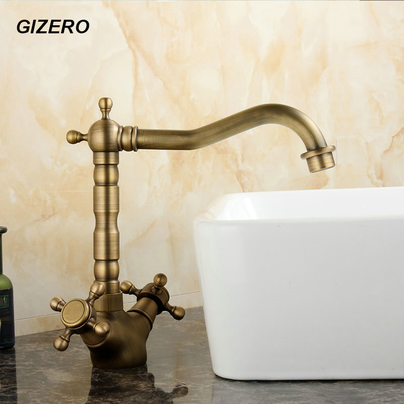 Antique Brass Faucet Hot Cold Dual Handle Bathroom Basin Mixer Faucet Swivel Deck Mounted Sink Vanity