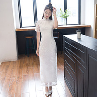 New Women White Lace Qipao Mandarin Collar Handmade Button Long Cheongsam Novelty Chinese Formal Dress Size