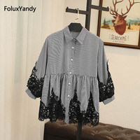 Three Quarter Lace Sleeve Women Blouse Shirt Plus Size 3 4 5 XL Turn down Collar Loose Plaid Casual Blouse SWM926