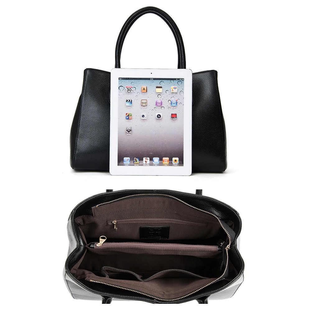 Zency 100% натуральная кожа модная женская сумка черная Высококачественная Женская Повседневная сумка Офисная Женская Бизнес-кошелек белый