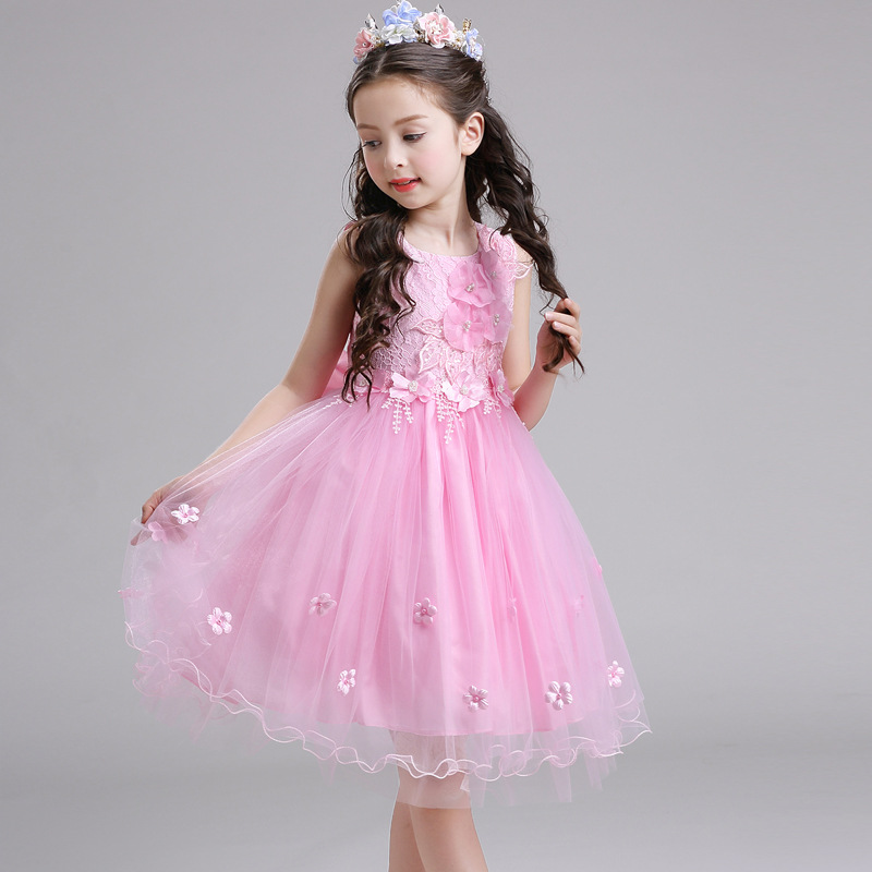 NEW SUMMER/SPRING kids girls front flower back bow tie lace dress flower girl princess party/wedding/performer/host tutu dress girls short in front long in back purple flower girl dress summer 2017 girl formal dress kids party princess custume skd014283