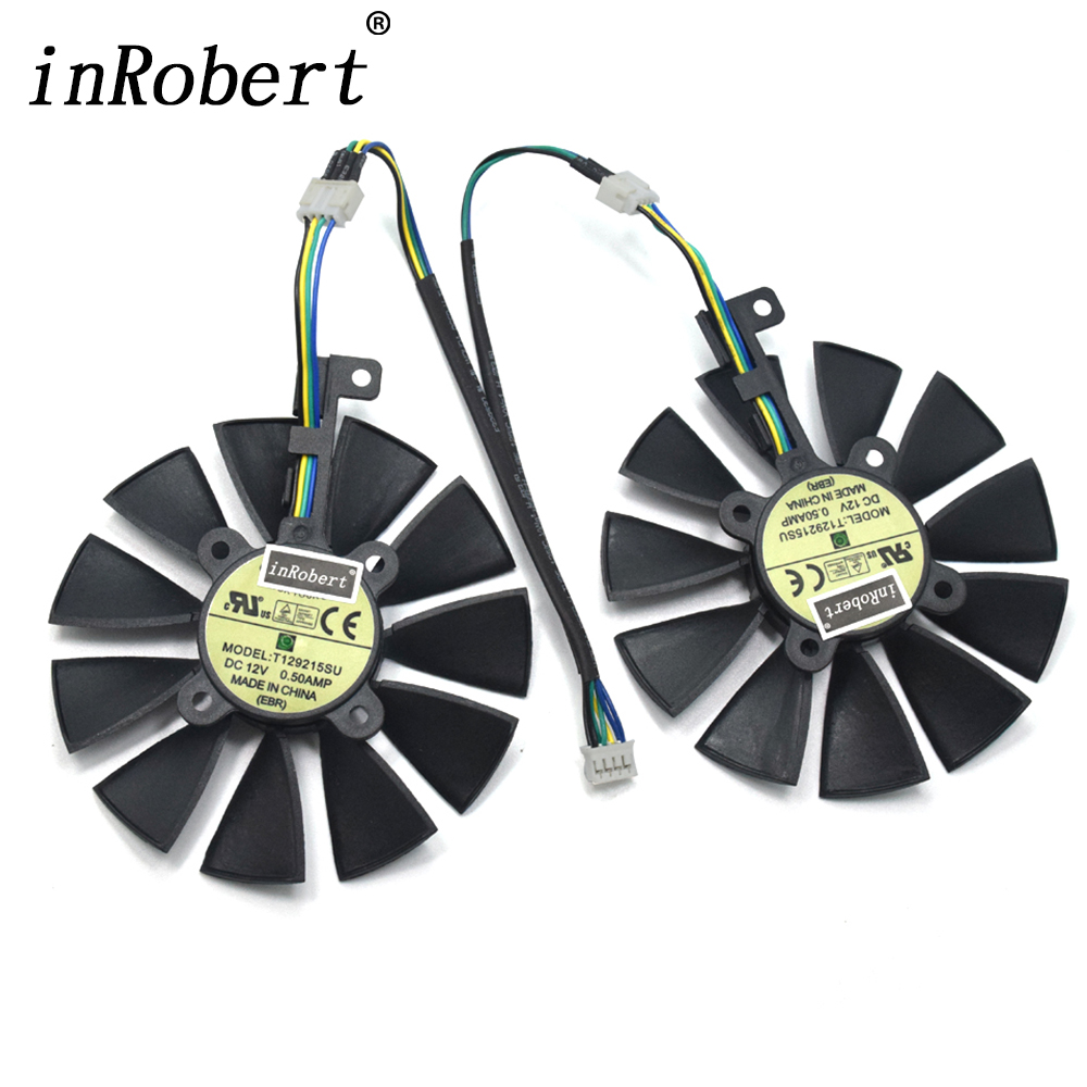 New 88MM T129215SU DC 12V 0.50A Cooler Fan For ASUS Strix GTX 1050 1060 1070 1080 GTX 970 RX 480 Graphics Card Cooling Fan 2pcs lot video cards cooler gtx 1080 1070 1060 fan for msi gtx1080 gtx1070 armor 8g oc gtx1060 graphics card gpu cooling