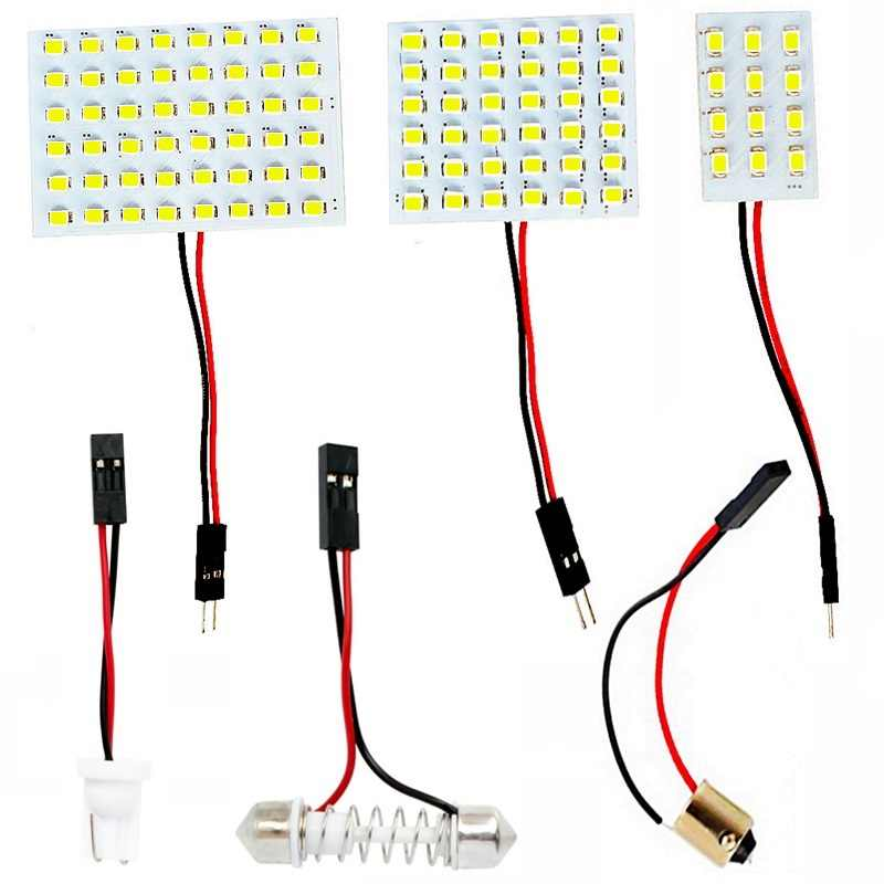12 36 48 SMD 2835 LED Auto Dome Panel Light Car Interior Reading Lamp Roof Bulb With T10 W5W BA9S C5W Festoon 3 Adapter Base