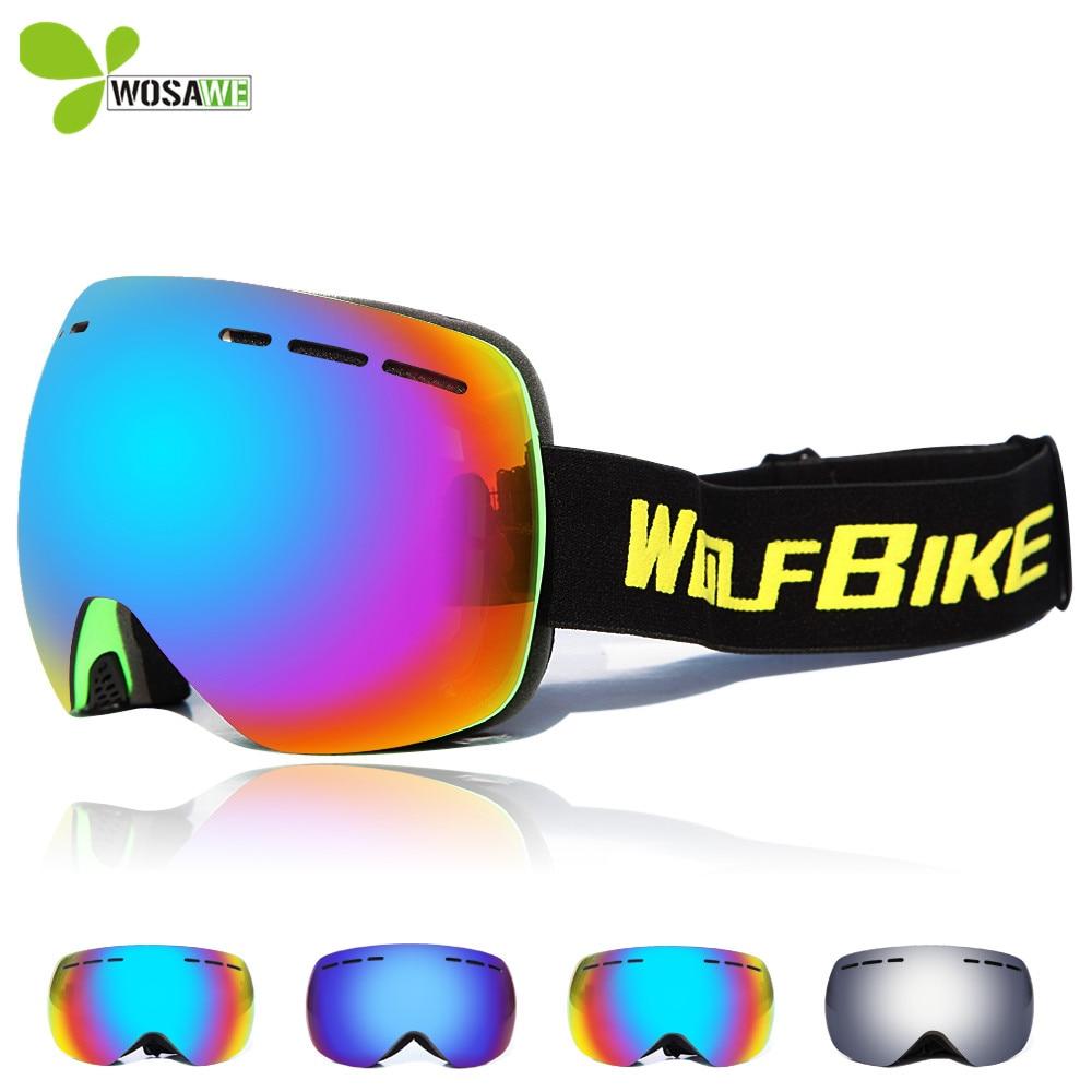 90a1b6db8e7 WOSAWE Professional Ski Goggles Double Lens Anti-fog UV400 Big Ski Glasses  Skiing Snowboard eyewear Men Women Snow Goggles