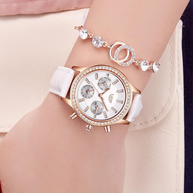 Relogio feminino Wanita Jam Tangan LIGE Merek Mewah Gadis Kuarsa - Jam tangan wanita - Foto 3