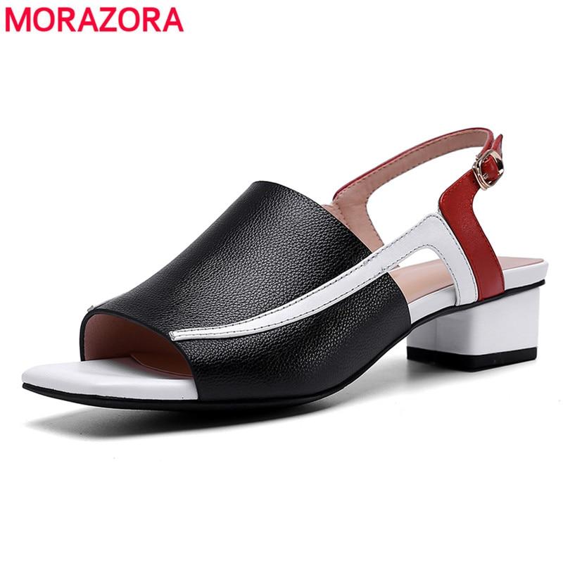 MORAZORA 2019 ใหม่ของแท้หนังผู้หญิงผสมสีส้นสูงเปิดเท้าผู้หญิงรองเท้าแตะฤดูร้อนรองเท้า-ใน รองเท้าส้นสูงเตี้ย จาก รองเท้า บน   1