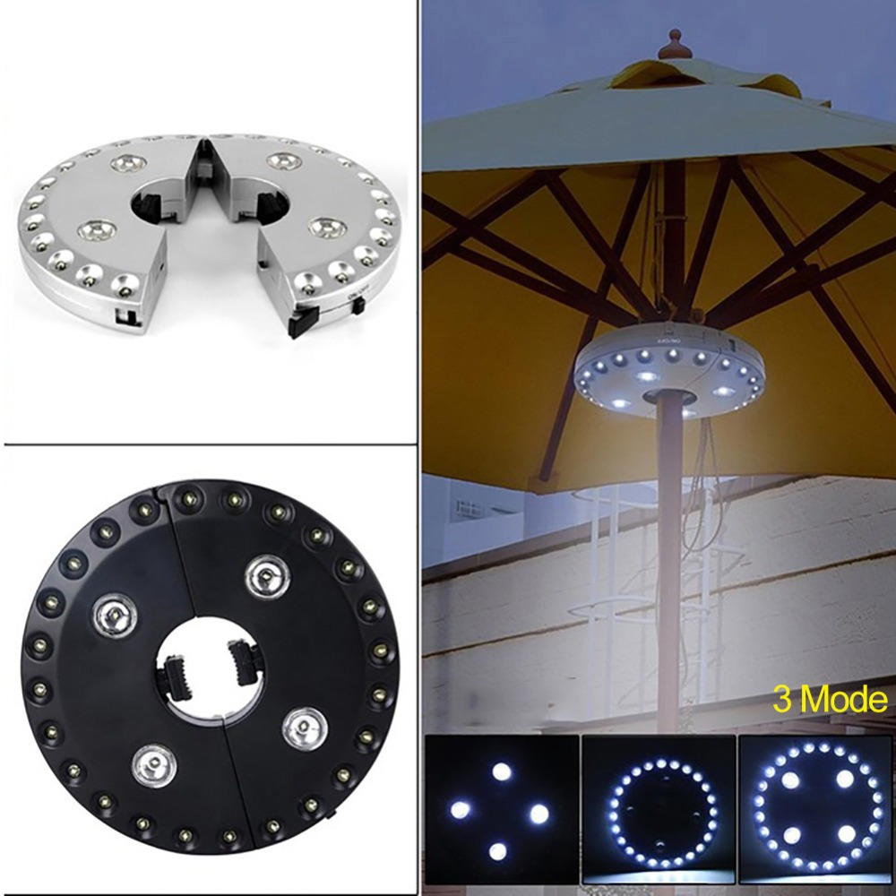 1PC Outdoor Garden Umbrella Pole Light Kit 28 LEDs 3 Mode Patio Camping Tent Lamp Yard Lawn Night Lighting Umbrella Post Light