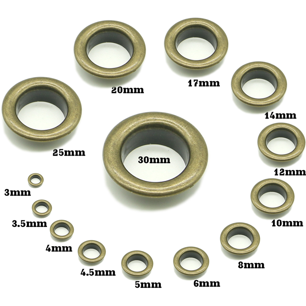 Double Sided Brass Eyelet Leather Craft Repair Grommet Banner 4//4.5//5//6//8//10mm