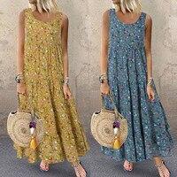 Летнее богемное пляжное платье большого размера M-5XL женское модное повседневное свободное платье без рукавов с цветочным принтом на каждый...
